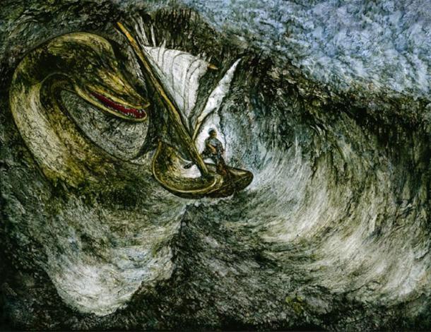 'Loch Ness Monster, Seasnake, Seamonster, Seeschlange, Meeresungeheuer.' By Hugo Heikenwaelder.
