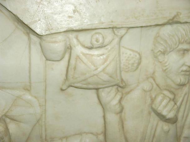 Loculus (satchel) hung from the canopy of a boat. Image of a part of the cast of Trajans Column at Mainz.