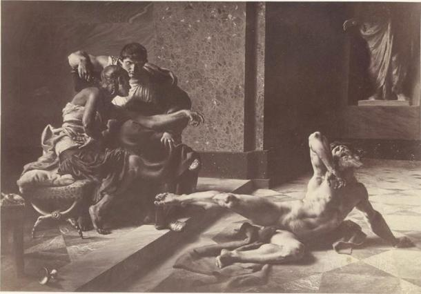 Locusta testing in Nero's presence the poison prepared for Britannicus, painting by Joseph-Noël Sylvestre, 1876 (Public Domain)