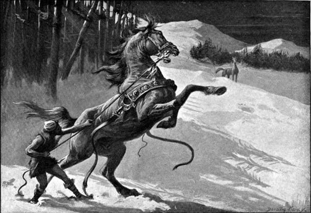 Loki and Svaðilfari (1909) by Dorothy Hardy