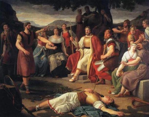 Loki, smiling far left, causes the ultimate death of his fellow deity, Baldr
