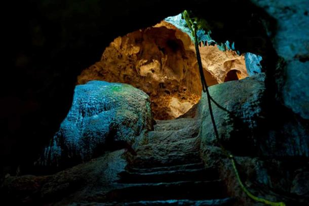 Looking inside the sacred Balankanché Cavern.
