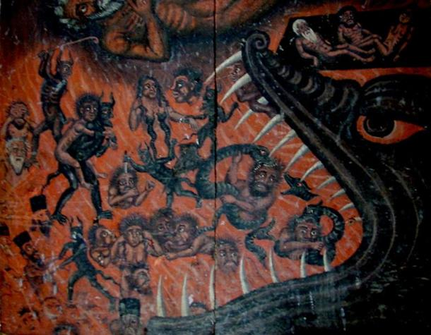 Loose icon in Gelati monastery shows a Western-inspired Hellmouth. (CC BY-SA 2.0)