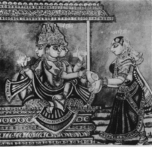 Lord Brahma and Adhiti, mother of the gods. (Public Domain)