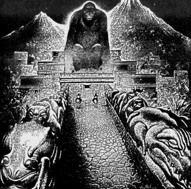 "Artist Virgil Finlay's conceptional drawing of Theodore Moore's 'Lost City of the Monkey God"". Originally published in The American Weekly, September 22, 1940"