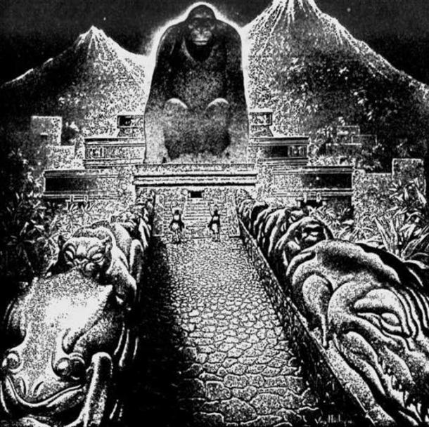 """Artist Virgil Finlay's conceptional drawing of Theodore Moore's """"Lost City of the Monkey God"""". Originally published in The American Weekly, September 22, 1940"""