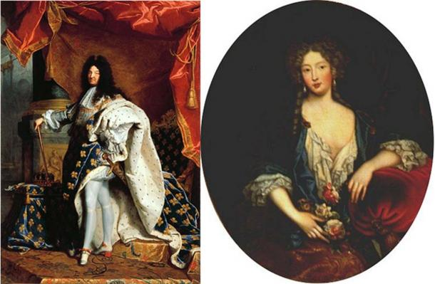 Portraits of Louis XIV from 1701 by Hyacinthe Rigaud and Marie Angélique de Scorailles, duchess of Fontanges (date unknown).