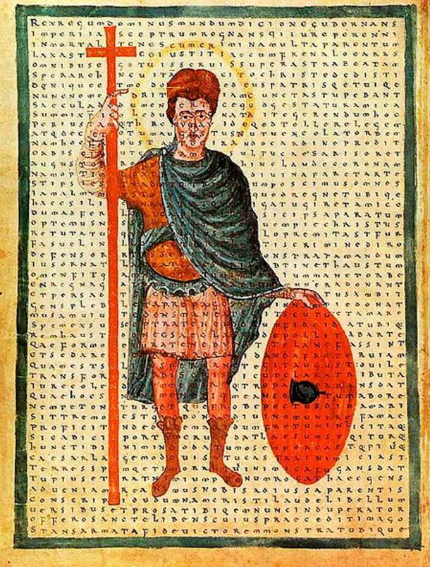 Louis the Pious, contemporary depiction from 826 AD as a soldier of Christ