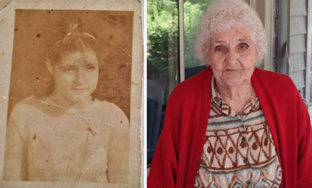 Left: Louise Maddox 1939. Right: Louise Maddox 2015.