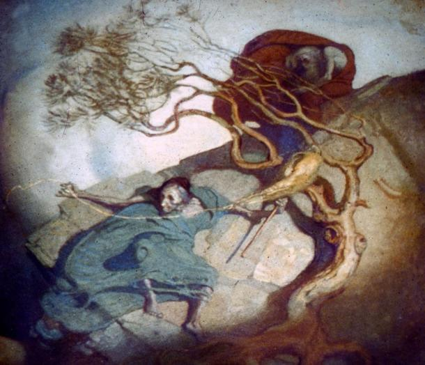 Loviatar spins on a hillside, painted by the Finnish artist Gallen-Kallella.