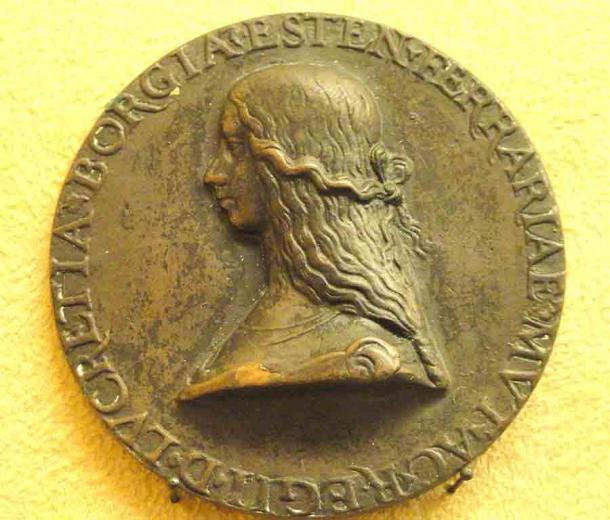 Lucrezia Borgia, sister of Cesare and daughter of Pope Alexander IV as depicted on a Roman coin from 1502 AD. (Unidentified medallist / CC0)