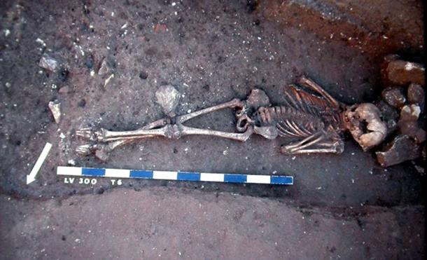 Lunel-Viel (Languedoc-Southern France). Victim of the plague thrown into a demolition trench of a Gallo-Roman house; end of the 6th-early 7th century. Image credit: 1990; CNRS - Claude Raynaud