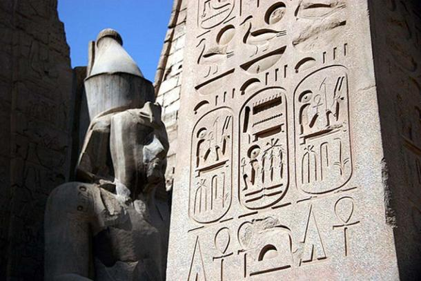 Luxor Temple, Egypt. Cartouches for Ramesses II