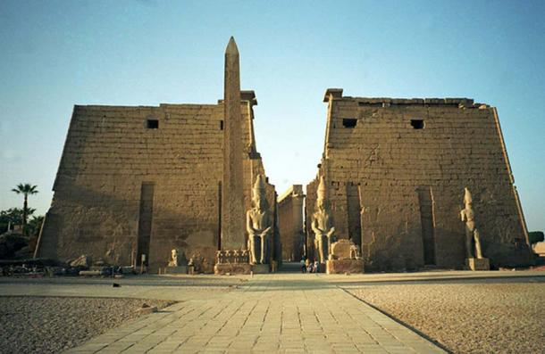 Luxor Temple and its remaining obelisk.