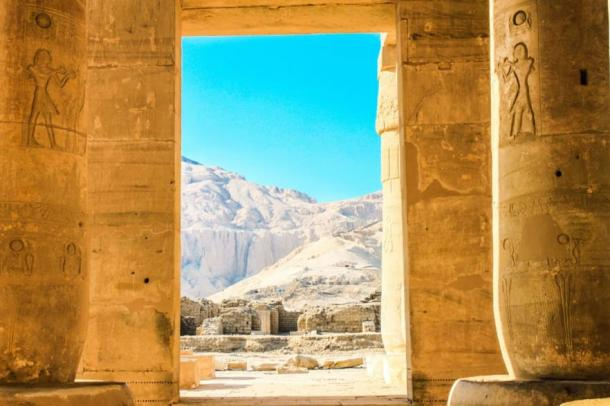 View of Luxor from within the Ramesseum