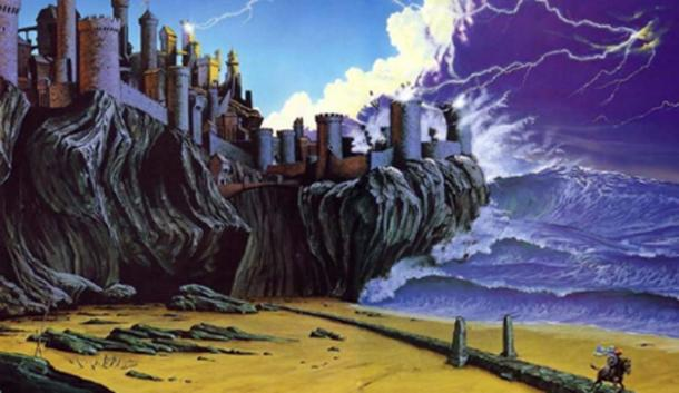 Artist's depiction of Lyonesse being swept away. (AnnoyzView)