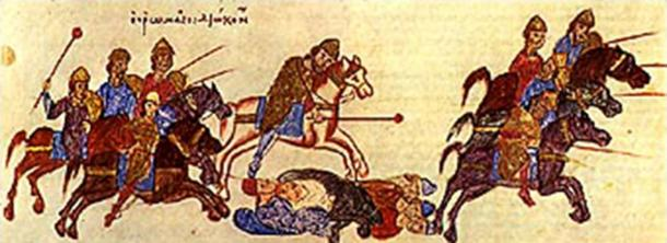 Mace-wielding Byzantine cavalry of Komnenos era in pursuit.