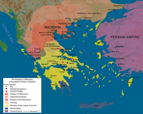 The Macedonian Empire at the death of Philip II in 336 BC (CC BY-SA 3.0)