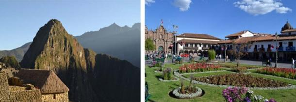 View of Machu Picchu buildings and Wayna Picchu mount (left) and Cusco (right), Peru