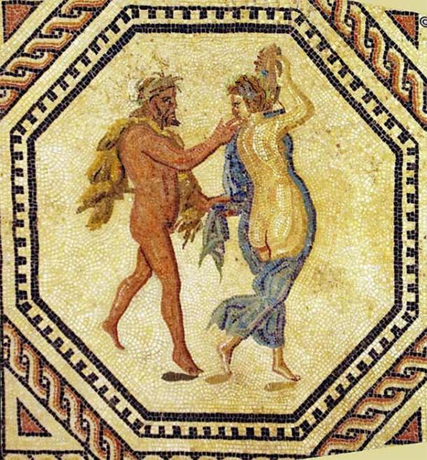 A Maenad and a Satyr, ancient Roman floor mosaic depicting Dionysiac scenes (220 AD) Römisch-Germanisches Museum Cologne (CC BY-SA 2.)