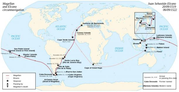 The Magellan–Elcano voyage. Victoria, one of the original five ships, circumnavigated the globe, finishing 16 months after the explorer's death.