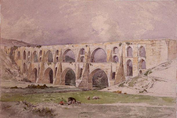 The Maglova Aqueduct by Mimar Sinan, watercolor by Jules Laurens (1847).