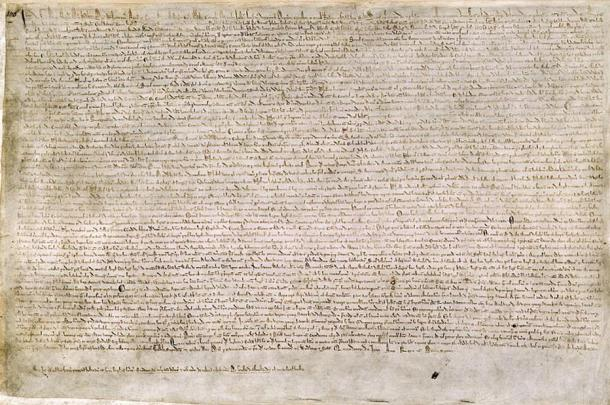 One of four known surviving examples of the Magna Carta signed by King John and the Barons in 1215.