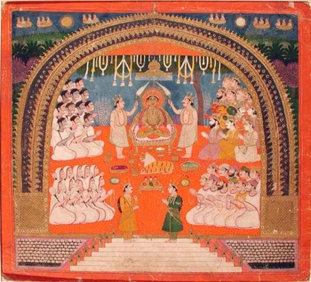 Mahavira adoration in a manuscript, c. 1825 AD. (Public Domain)