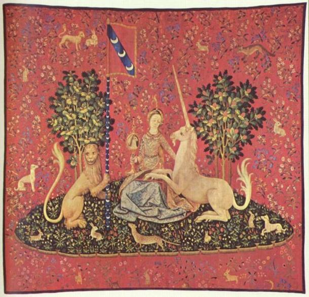 Maiden with Unicorn, tapestry, 15th century (Musée de Cluny, Paris)