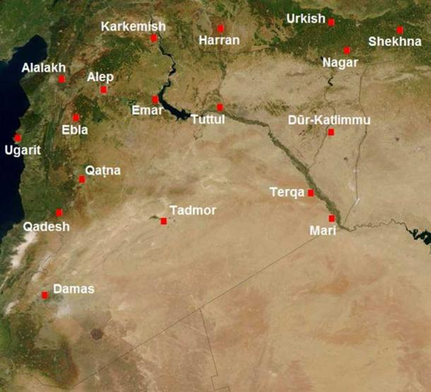 Main cities of Syria in the second millennium BCE. Kadesh, or Qadesh, is to the west.