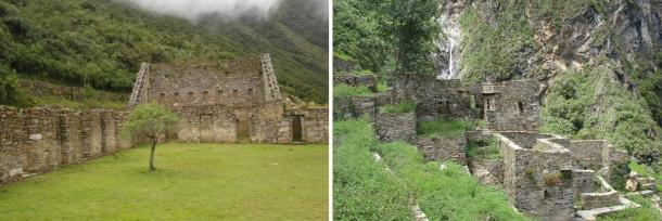 Left: Main plaza at Choquequirao. Right: Remains of Inca houses at Choquequirao