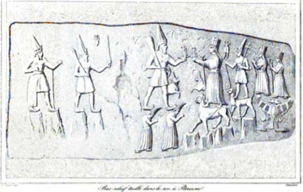 Main scene of the Hittite sanctuary of Yazilikaya, Central Turkey, drawn by Charles Texier. (Kpisimon / Public Domain)