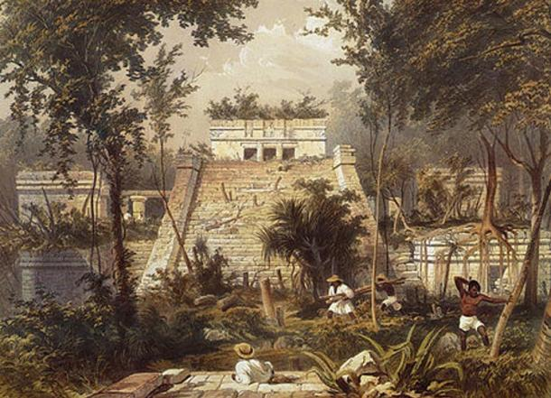 Main temple at Tulum, by Frederick Catherwood