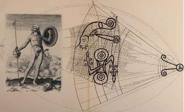 Main - Archaic carvings, a common symbol of Pictland as seen at Anwoth, Scotland. Inset - Theodor de Bry, Celtic or Pict Warrior, representative of Drust I.   Source: Internet Archive Book Images /Public Domain