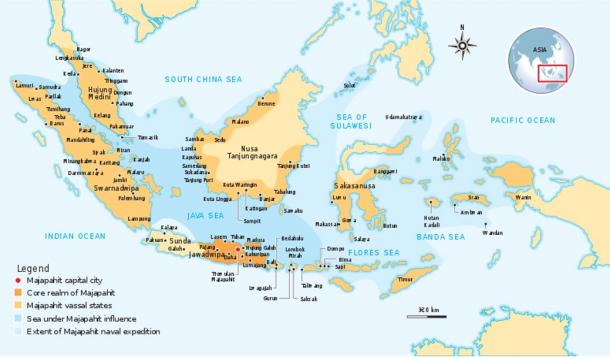 A map showing the Majapahit Empire during its heyday in the 14th century AD.