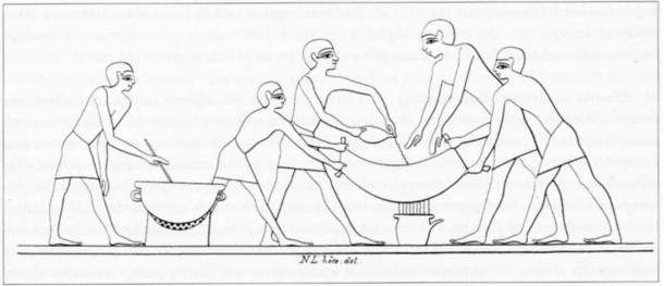 Making shedeh sweet red wine by heating and filtering; from a noble tomb (15 - Baqet III) at Beni-Hassan, 21st century BC. (Champollion, J. F, Les monuments de l'Egypte et de la Nubie IV, Paris, 1845, Pl 389/4; jfr Tallet 1995: 459-492.)