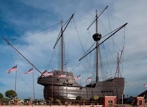 Malacca City, Malaysia: Flor de la mar, Replica of Portuguese ship, built in 1994.