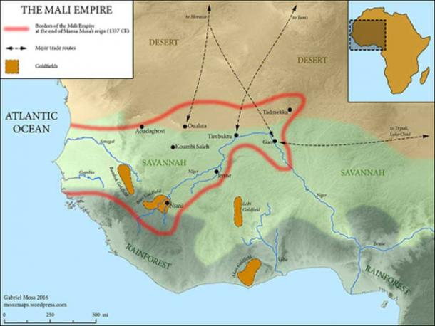 The Mali Empire at the time of Mansa Musa's death.