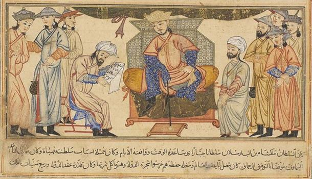 Malik-Shah I, ruler of the Seljuks, seated on his throne. (Public Domain)