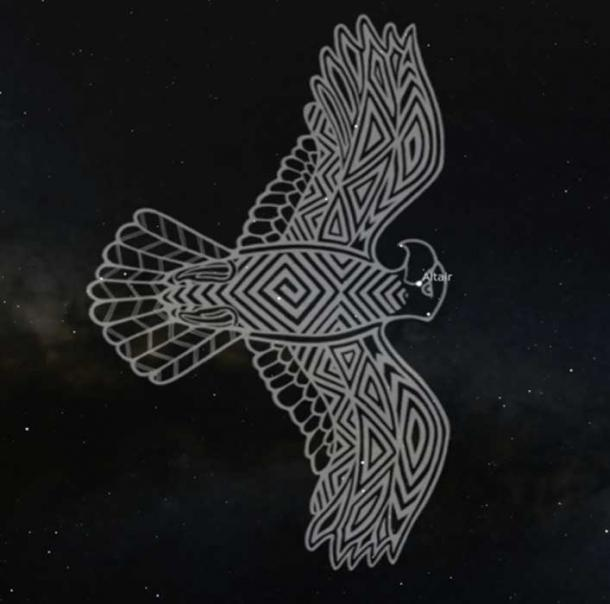 Maliyan, the Wedge-tailed Eagle in Wiradjuri traditions. Stellarium, Wiraduri artist Scott 'Sauce' Towney