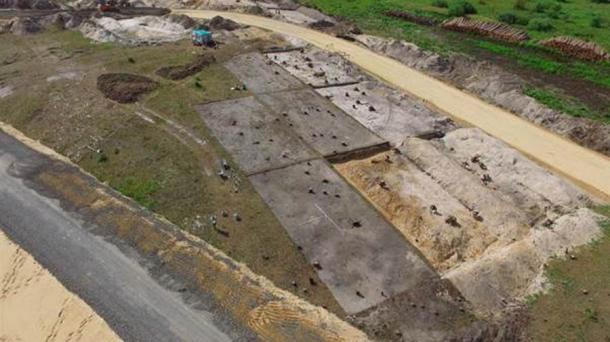 Malookulovskaya-3. General view of the excavation site from a quadcopter. (Institute of Archaeology RAS)