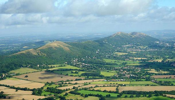 The Malvern Hills in England. Alfred Watkins believed a ley-line passed along their ridge connecting a string of ancient places.