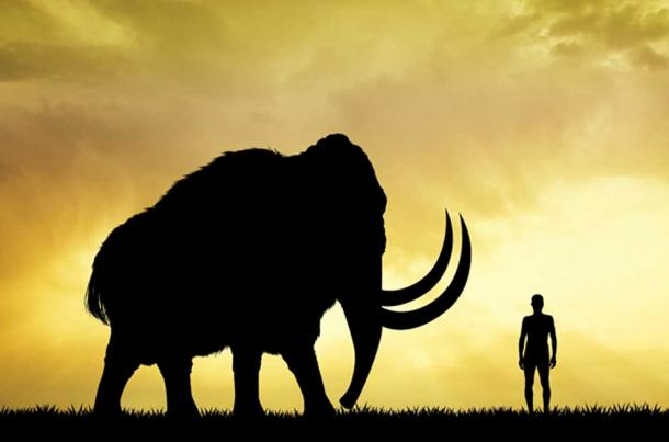 Mammoth and man at sunset. (adrenalinapura /Adobe Stock)