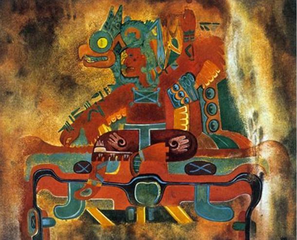 Hombre sentado en el trono, Oxtotitlán, olmeca Cultura, Medio Período Formativo, BC, pintura rupestre.