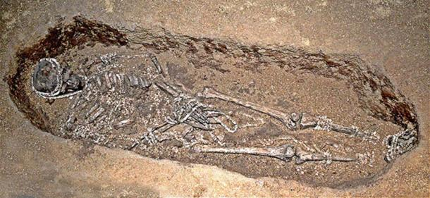 Man buried with ivory bead grave goods in an Upper Paleolithic burial in Sunghir (Sungir), Russia. The site is approximately 28 000 to 30 000 years old.