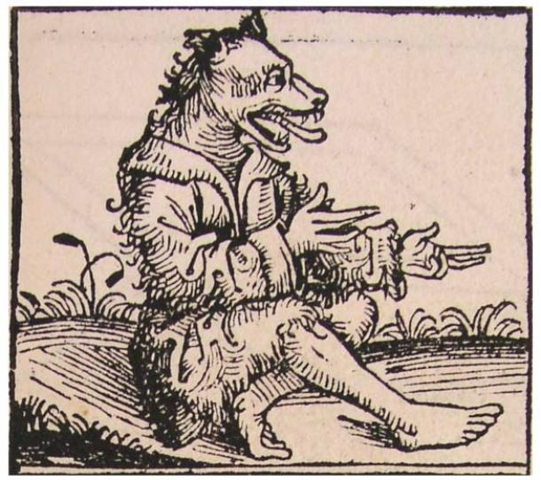 Man with a dog head. Nuremberg Chronical (Schedel'sche Weltchronik), page XIIr, 1493 AD.