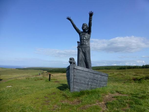 Manannán mac Lir sculpture by John Sutton at Gortmore, Magilligan, County Londonderry (2014).