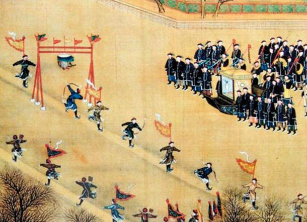 Manchu ice skaters perform during a holiday.