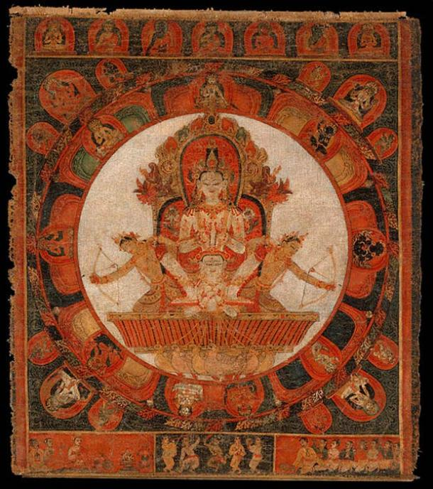 Mandala of Chandra, God of the Moon. Nepal (Kathmandu Valley), early Malla period.