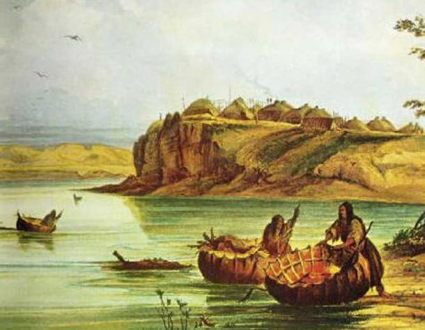 Mandan Bull Boats and Lodges by Karl Bodmer.